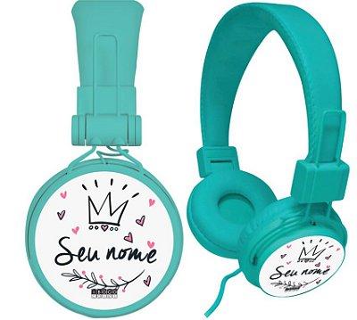 fone de ouvido personalizado - nome coroa e corações