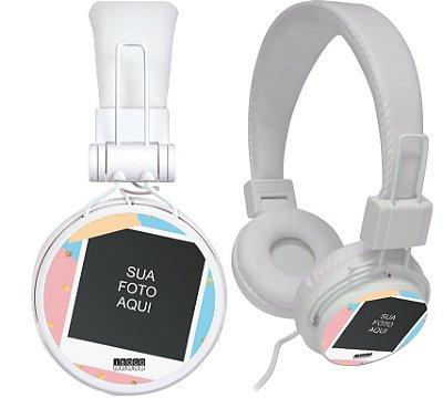 fone de ouvido personalizado -  sua foto fundo colorido