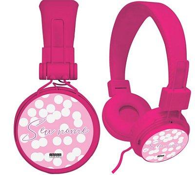 fone de ouvido personalizado - seu nome fundo bolinhas rosas