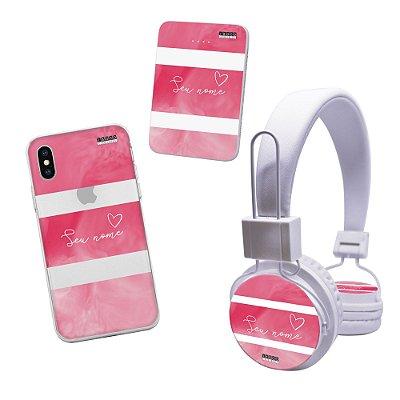 kit personalizado capinha, powerbank e fone - seu nome fundo rosa