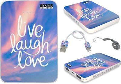 carregador portatil powerbank personalizado live laugh love