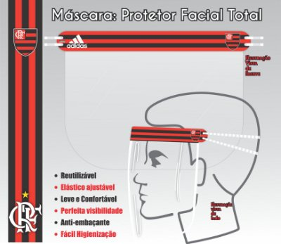 Máscara de Proteção Facial Total - FLAMENGO 03