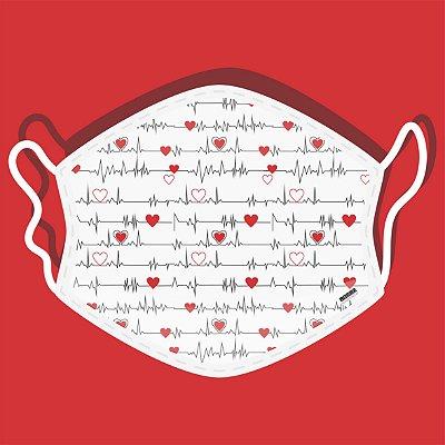 Máscara de Proteção Tecido Duplo - Corações Batimentos Cardíacos