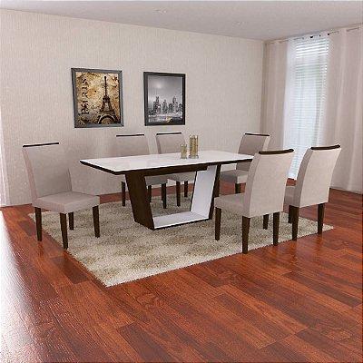 Mesa de jantar com 06 cadeiras Escarlate- mesa de 1,80 cm- castor/Veludo/Creme, vidro na cor Branco ou Preto.co