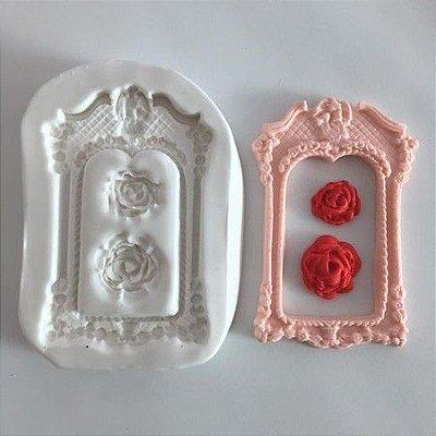 Molde Moldura com rosa 569