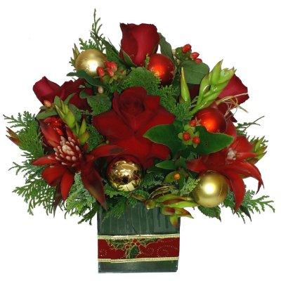 Arranjo de Natal com rosas