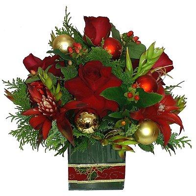 Centro de mesa natalino com rosas