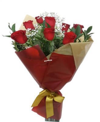 Buquê com 8 rosas e papéis