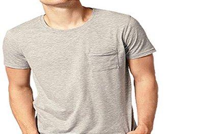 Camiseta Gola Básica Masculina com Bolso Manga Curta