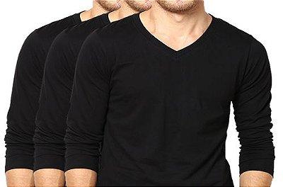 KIT com 3 Camisetas Gola V Masculina Manga Longa