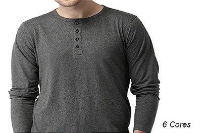 Camiseta Gola Portuguesa (Henley) Masculina com 4 Botões Limitadas Manga Longa