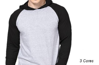 Camiseta Gola Raglan  com Capuz Masculina Modelo 2 Manga Longa