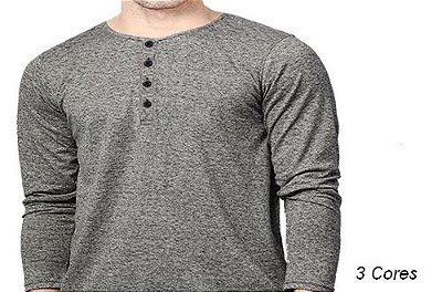 Camiseta Gola Portuguesa (Henley) Masculina com 4 Botões Reverse Manga Longa