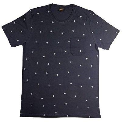 Camiseta Gola Básica Masculina Poa com Bolso Manga Curta