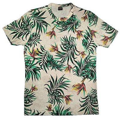 Camiseta Gola Básica Masculina Floral Modelo 1 Manga Curta