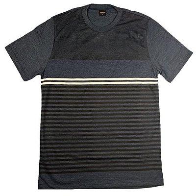 Camiseta Gola Básica Masculina Listrada Manga Curta