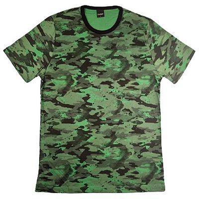 Camiseta Gola Básica Masculina Camuflada Manga Curta