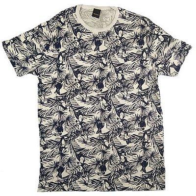 Camiseta Gola Básica Masculina Floral Modelo 2 Manga Curta