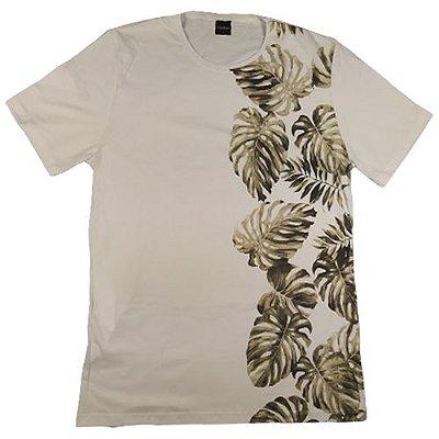 Camiseta Gola Básica Masculina Floral Modelo 3 Manga Curta