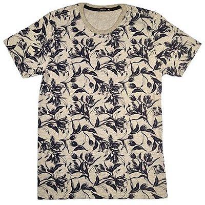 Camiseta Gola Básica Masculina Folhagem Modelo 3 Manga Curta