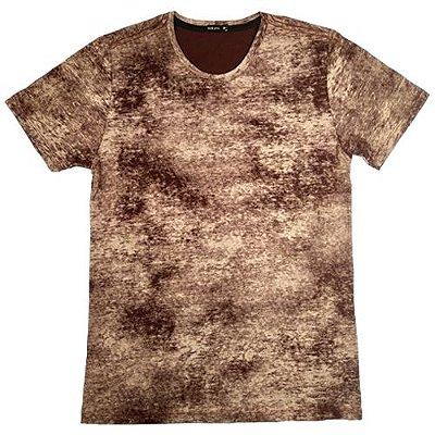 Camiseta Gola Básica Masculina Estonada Manga Curta