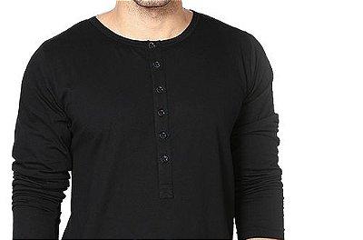 Camiseta Gola Portuguesa (Henley) Masculina com 6 Botões Manga Longa