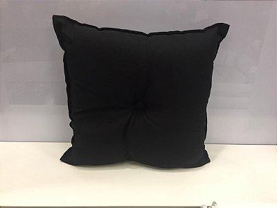 Almofada com Botão Preta 35 cm x 35 cm