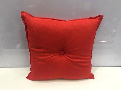 Almofada com Botão Vermelha 35 cm x 35 cm