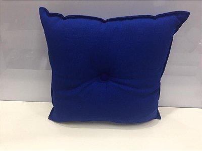 Almofada com Botão Azul Escuro 35 cm x 35 cm