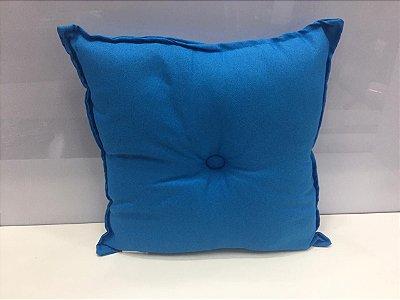 Almofada com Botão Azul Claro 35 cm x 35 cm