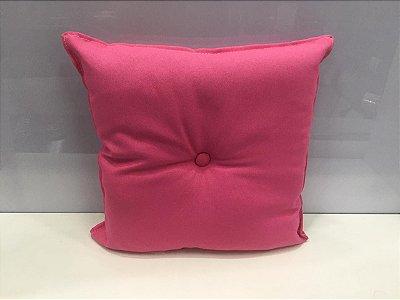 Almofada com Botão Rosa 35 cm x 35 cm