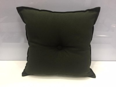Almofada com Botão Verde Escuro 35 cm x 35 cm