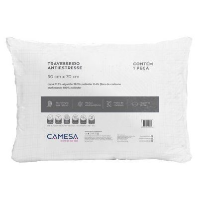 3 Travesseiros Antiestresse Camesa Suporte Firme 50 Cm X 70 Cm
