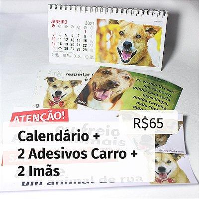 Kit Calendário 2021 + 2 Adesivos Carro + 2 Imãs