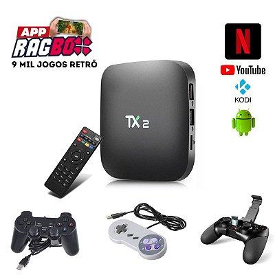 KIT TV BOX RETRÔ ANDROID COM 9 MIL JOGOS RETRÔ