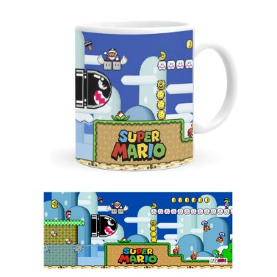 Caneca de Porcelana Super Mario World