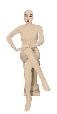 Manequim Plástico Feminino Sentada - Com Cabeça -
