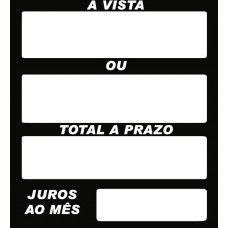 Etiqueta A vista/Prazo/Total/Juros -  42 mm x 46 mm - Pct 50 Unid