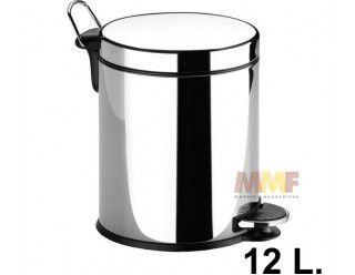 Lixeira 12 litros Inox com pedal - 25 x 39 x 32,5 cm
