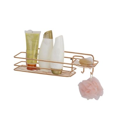 Prateleira Para Shampoo Retangular Rose Gold - 11 x 11 x 39 cm