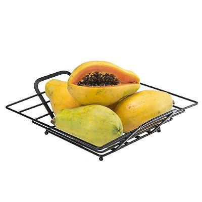 Fruteira Preta De Mesa Quadrada - 32 x 7 x 32 cm