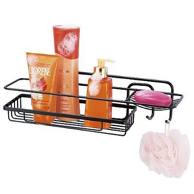 Prateleira Para Shampoo Retangular Preta - 11 x 11 x 39 cm