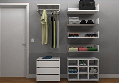 Kit Closet MDF Linear Completo - Cabideiro/Gaveteiro/Nicho/4 Prateleiras