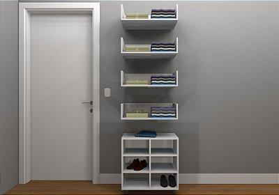 Kit Closet MDF Linear - Nicho/4 Prateleiras 60 cm