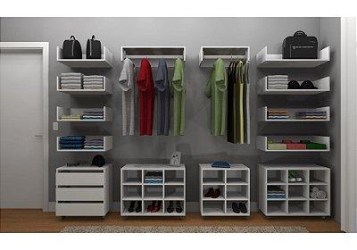 Kit Closet MDF Linear Completo - Cabideiro/Gaveteiro/Nichos/Prateleira