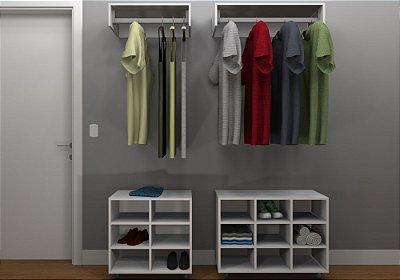 Kit Closet MDF Linear - Cabideiro/Nichos