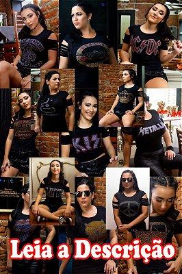 Kit 10 camisetas babylook Feminina Rock Variadas Escolha os Tamanhos