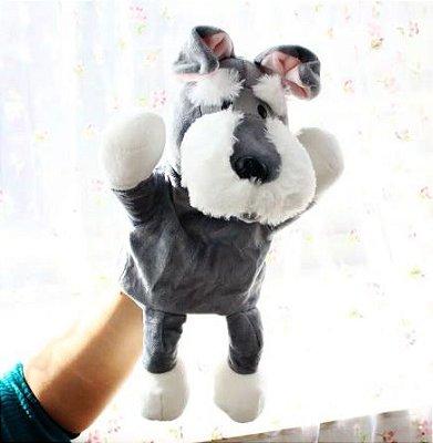 Fantoche de Pelúcia Cachorro Schnauzer 30cm