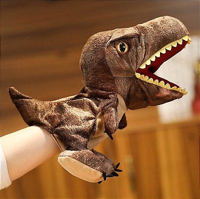 Fantoche de Dinossauro Marrom de Pelúcia 30cm