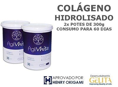 Agil Vhita (2x Potes com 300g / Consumo para 60 dias) - Colágeno Hidrolisado 100% PURO para reposição proteica. VALIDADE AGO/2018